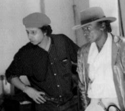 Anthony Barboza, Miles and Davis on the set of Dentsu TV, 1982