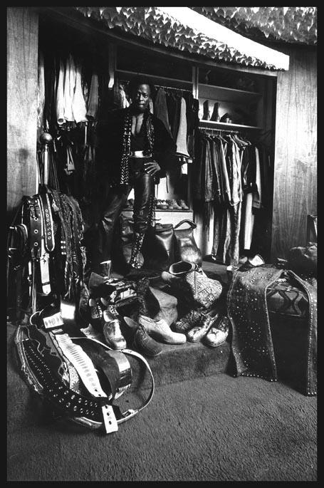 Miles Davis wardrobe, Home in LA, photo by Anthony Barboza 1971 Blink article